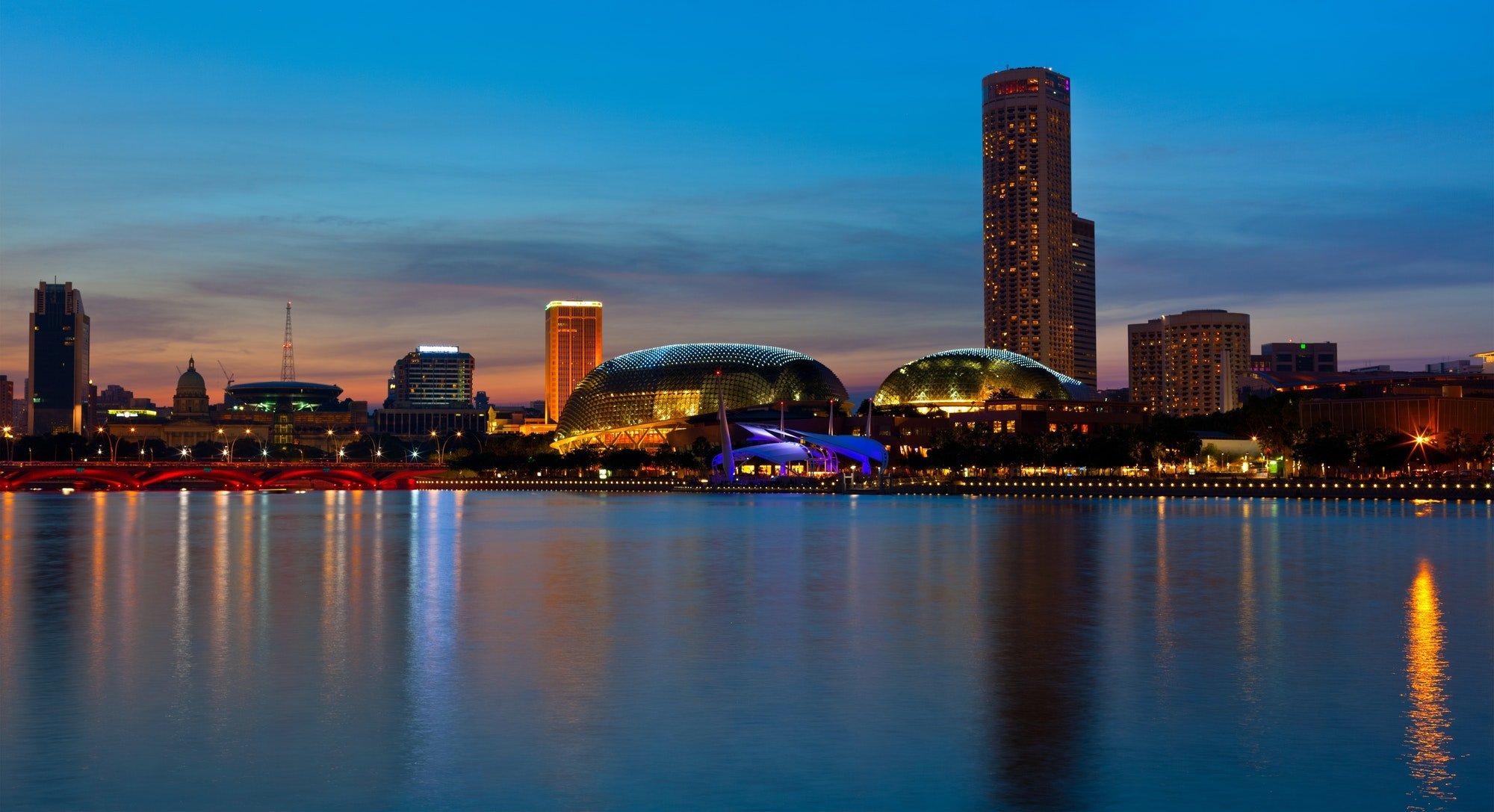Singapore skyline evening